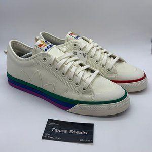 NEW Adidas Nizza Pride White Rainbow
